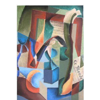 schilderij pastelkrijt en bladmuziek