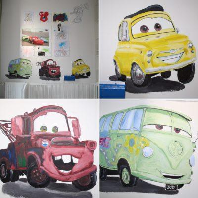 muurschildering CARS geschilderd door LINDESIGN