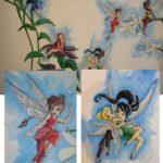 Muurschildering babykamer meisje Disney elfjes