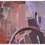 Schilderij Hair drieluik acrylverf met collage materiaal