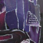 schilderij Hair drieluik van acrylverf en collagemateriaal