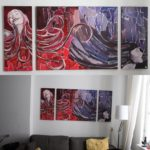 Schilderij Hair drieluik acrylverf met collage materiaal.