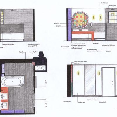 ontwerp badkamer appartement in kerk Oudwijk te Utrecht door LINDESIGN.AMSTERDAM