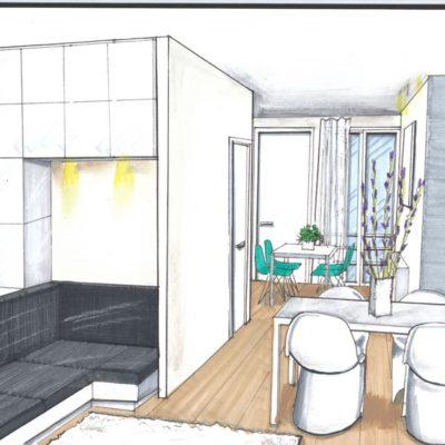 ontwerp woonkamer met zicht naar keuken Singel Amsterdam