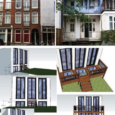 nieuw ontwerp achtergevel Oosterparkstraat Amsterdam Oost