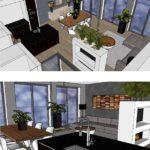 Woonkamer keuken ontwerp appartement En Bloc houthavens Amsterdam